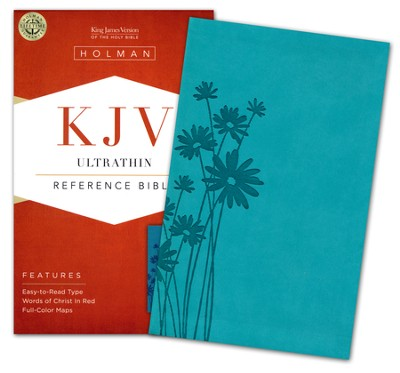 KJV UltraThin Reference Bible, Teal LeatherTouch  -