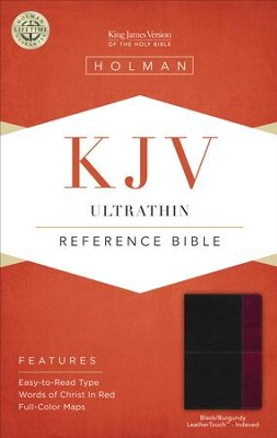 KJV UltraThin Reference Bible, Black and Burgundy LeatherTouch, Thumb-Indexed  -