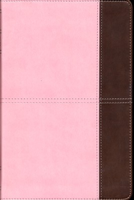 KJV UltraThin Reference Bible, Pink and Brown LeatherTouch, Thumb-Indexed  -