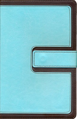 KJV UltraThin Reference Bible, Brown and Blue LeatherTouch with Magnetic Flap, Thumb-Indexed  -
