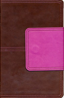 KJV UltraThin Reference Bible, Brown and Pink LeatherTouch with Magnetic Flap, Thumb-Indexed  -
