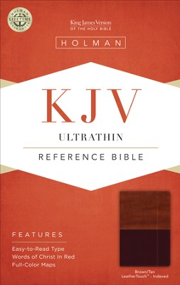 KJV UltraThin Reference Bible, Brown and Tan LeatherTouch, Thumb-Indexed  -