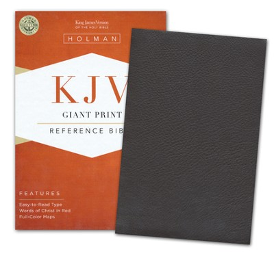 KJV Giant Print Reference Bible, Brown Genuine Cowhide  -
