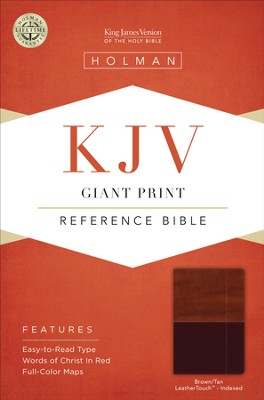 KJV Giant Print Reference Bible, Brown and Tan LeatherTouch, Thumb-Indexed  -