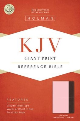 KJV Giant Print Reference Bible, Pink and Brown LeatherTouch, Thumb-Indexed  -