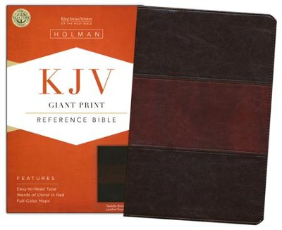 KJV Giant Print Reference Bible, Saddle Brown LeatherTouch  -