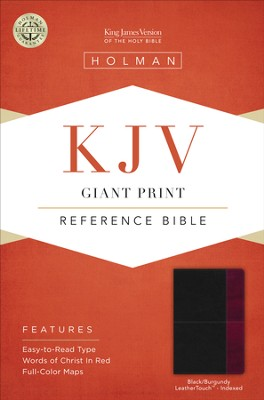 KJV Giant Print Reference Bible, Black and Burgundy LeatherTouch, Thumb-Indexed  -
