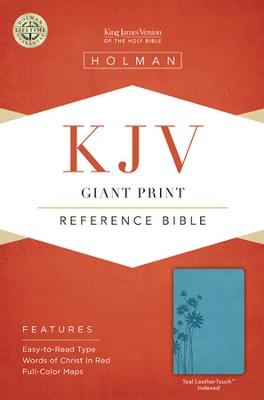 KJV Giant Print Reference Bible, Teal LeatherTouch, Thumb-Indexed  -