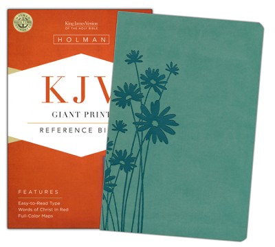 KJV Giant Print Reference Bible, Teal LeatherTouch  -