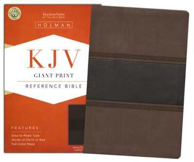 KJV Giant Print Reference Bible, Brown and Chocolate LeatherTouch  -