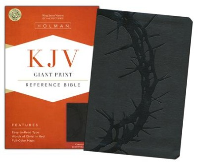 KJV Giant Print Reference Bible, Charcoal LeatherTouch  -