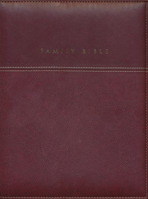 NIV Family Bible, Duo Tone burgundy 1984 - Imperfectly Imprinted Bibles  -