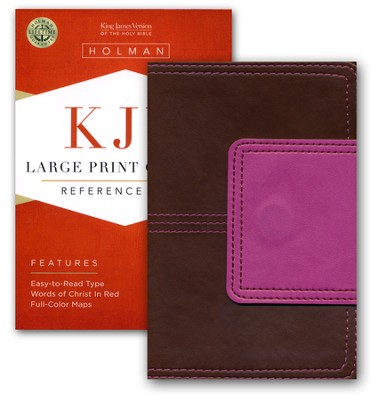KJV Large Print Compact Reference Bible, Brown and Pink LeatherTouch with Magnetic Flap  -