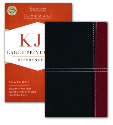 KJV Large Print Compact Reference Bible, Black and Burgundy LeatherTouch  -