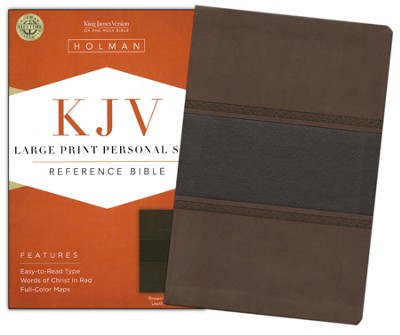 KJV Large Print Personal Size Reference Bible, Brown and Chocolate LeatherTouch  -