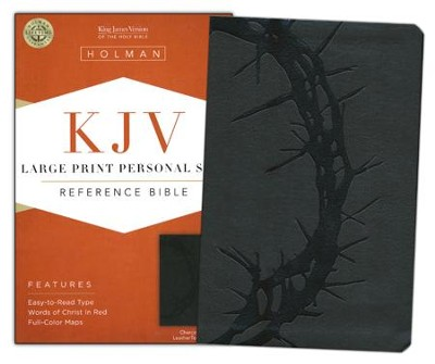 KJV Large Print Personal Size Reference Bible, Charcoal LeatherTouch  -