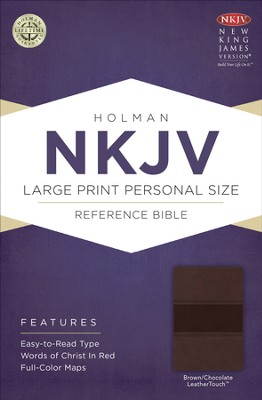 NKJV Large Print Personal Size Reference Bible, Brown and Chocolate LeatherTouch  -