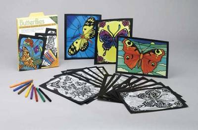 Butterflies Stained Glass Coloring Kit  -