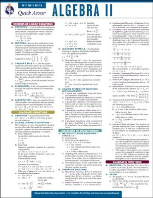 Algebra 2 - Quick Access Reference Chart  -     By: REA Editors