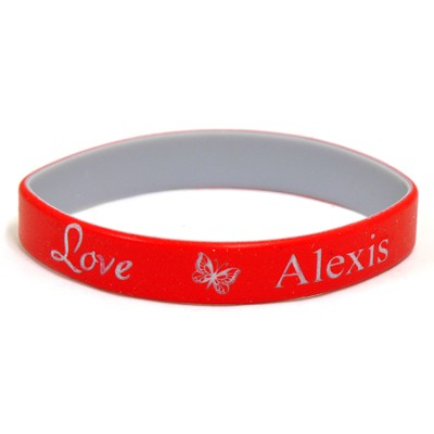 Personalized, Love Wristband, With Name and Butterfly, Red  -