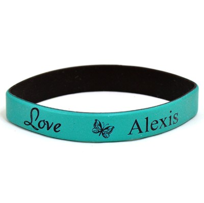 Personalized, Love Wristband, With Name and Butterfly, Teal  -