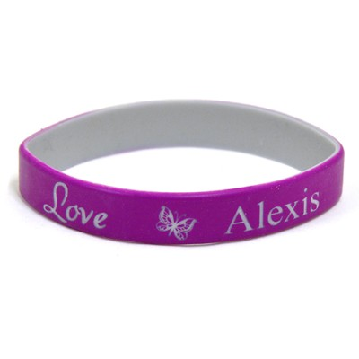 Personazlized, Love Wristband, With Name and Butterfly, Purple  -