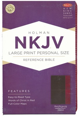 NKJV Large Print Personal Size Reference Bible, Black and Burgundy LeatherTouch, Thumb-Indexed  -