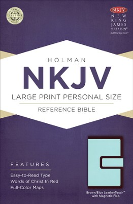 NKJV Large Print Personal Size Reference Bible, Brown and Blue LeatherTouch with Magnetic Flap  -