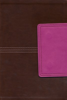 NKJV Large Print Personal Size Reference Bible, Brown and Pink LeatherTouch with Magnetic Flap  -