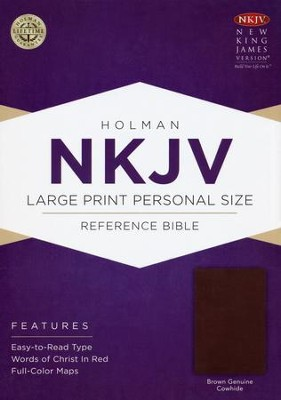 NKJV Large Print Personal Size Reference Bible, Brown Genuine Cowhide  -