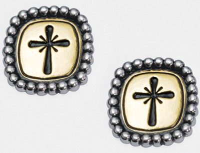 Cross with Studded Frame Earrings   -