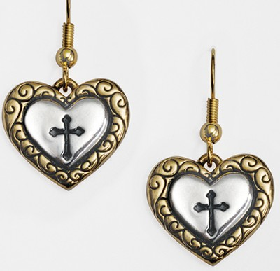 Two-Tone Heart Cross Earrings   -