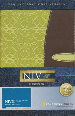 NIV Study Bible, Personal Size, Italian Duo-Tone Melon Green/Dark Brown, Updated Edition 1984 - Slightly Imperfect  -