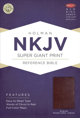 NKJV Super Giant Print Reference Bible, Burgundy Bonded Leather, Thumb-Indexed  -