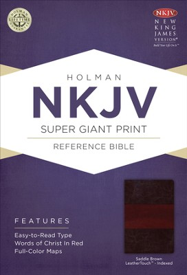 NKJV Super Giant Print Reference Bible, Saddle Brown LeatherTouch, Thumb-Indexed  -