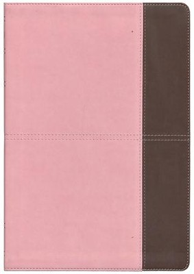 NKJV Super Giant Print Reference Bible, Pink and Brown LeatherTouch, Thumb-Indexed  -