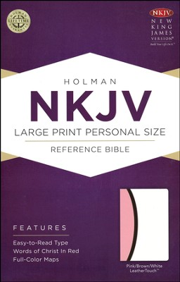 NKJV Large Print Personal Size Reference Bible, Pink, White, and Dark Brown LeatherTouch  -