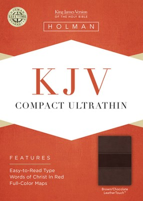 KJV Compact Ultrathin Bible, Brown and Chocolate Leathertouch  -
