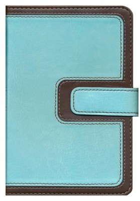 KJV Compact Ultrathin Bible, Brown and Blue Leathertouch with Magnetic Flap  -