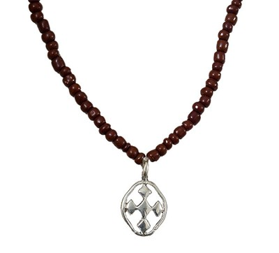 My Shield Beaded Brown Necklace  -
