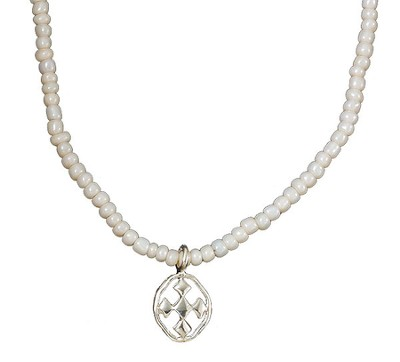 My Shield Beaded Pearl Necklace  -