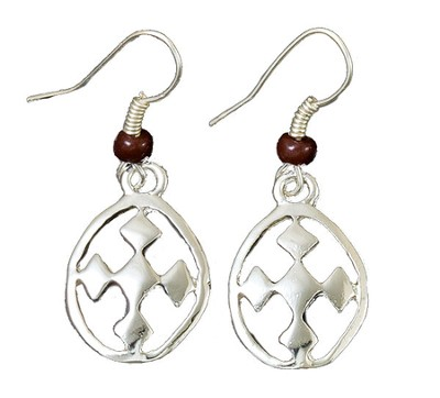 My Shield Beaded Dangle Earring, Brown, Large  -