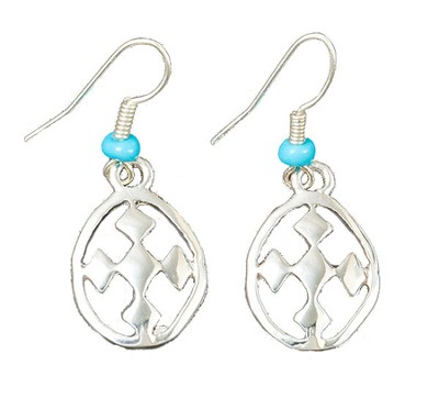 My Shield Beaded Dangle Earring, Turquoise, Large  -