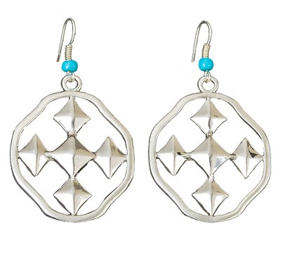 My Shield Beaded Dangle Earring, Turquoise, Small  -