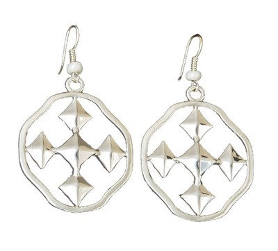 My Shield Beaded Dangle Earring, Pearl, Small  -