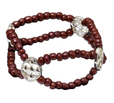 My Shield Beaded Bracelet, Brown  -