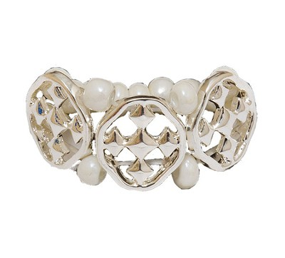My Shield Beaded Ring, Pearl, One Size Fits Most  -