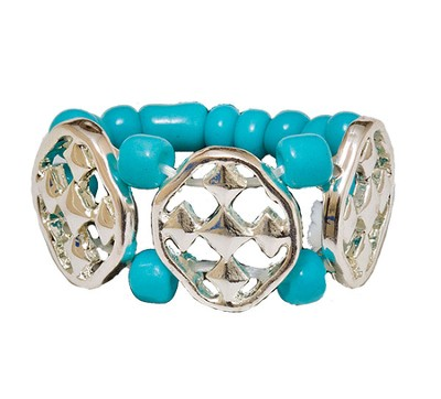 My Shield Beaded Ring, Turquoise, One Size Fits Most  -