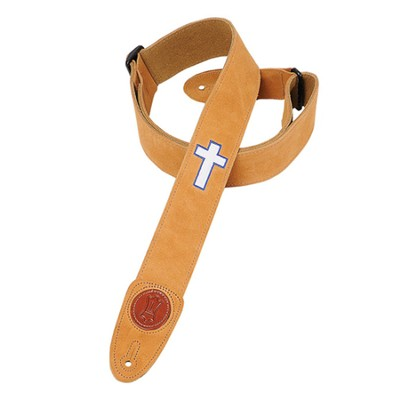 Guitar Strap with Cross, Tan  -