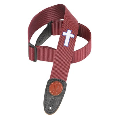 Guitar Strap with Cross, Burgundy  -